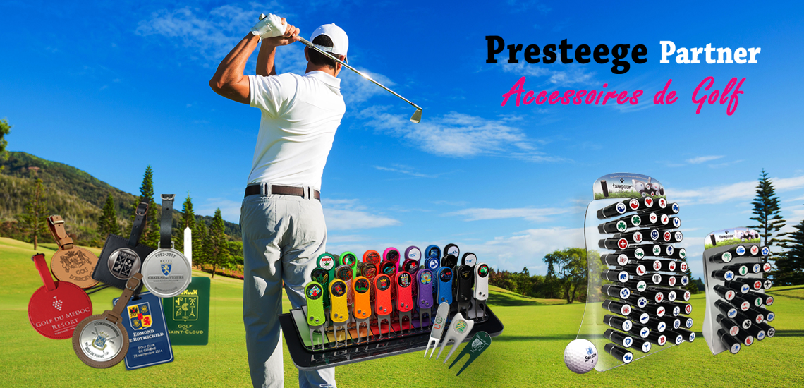 ACCESSOIRES & SUPPORTS DE COMMUNICATION DEDIES AUX GOLFS DE LA COLLECTION PRESTEEGE PARTNER